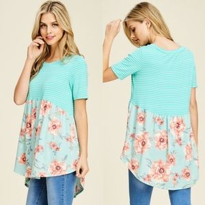 Floral Baby Doll Knit Top - MINT
